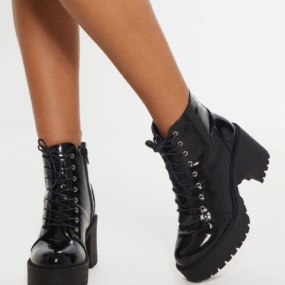 PrettyLittleThing Shoes - Black Patent Lace Up Chunky Ankle Boot